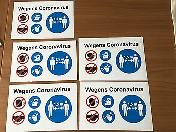 Wij leveren snel uw Coronavirus social distance stickers! Reclame en Borduurstudio An Zuidbroek